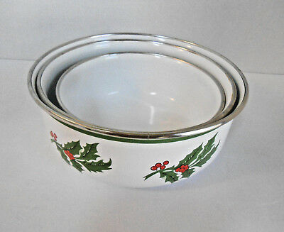 Three Nesting Metal Porcelain Lined Bowls with Holly and Berries Around Outside