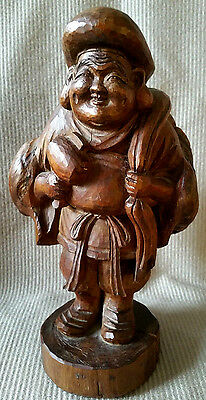Vintage Japanese DAIKOKUTEN Figurine Carved Wood Lucky God Statue Sculpture