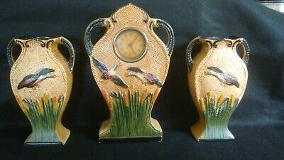 L@@K VINTAGE MANTLE CLOCK SET 1940/1950s? DUCKS CLOCK IS WORKING