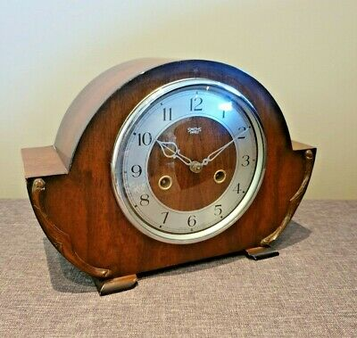 Antique 1930's Smiths Enfield Mahogany Art Deco Mantel Clock with Key & Pendulum