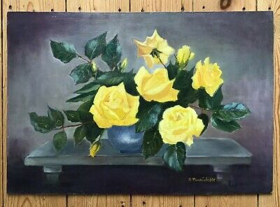 Vintage English Oil Painting On Board Mid Century 50s 60s Rose  Signed 47x32cm