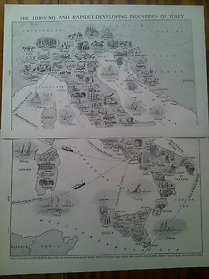 Map of Developing Industries of Italy 1924 2 Small Pages to Frame ? Europe