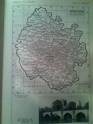 Map of Britain Rivers & Towns Monmouth or Hereford 1940's Small Page to Frame?