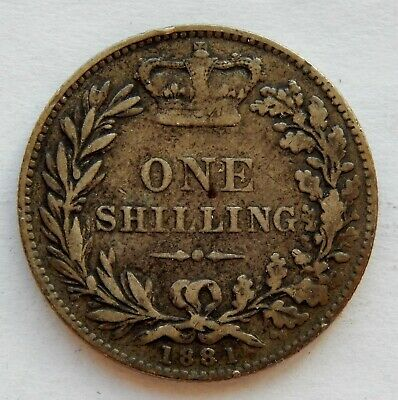 1881 UK / Great Britain One Shilling Silver Coin KM#734.4    SB6054