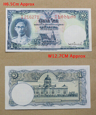 Thai Banknote King RAMA 9 Siamese Money Type 1 Baht Used in 1950 Rare V.1 UNC