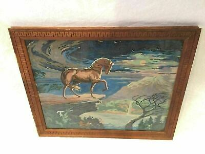 Paint By Number Vintage Wild Horse Mountain Cliff Framed Glass Both Sides