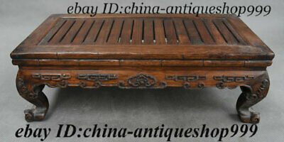 Old Chinese Hua Li Wood Hand-Carved Totems Tea Table Tea-Things Teapoy End table