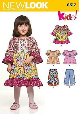 New Look Sewing Pattern 6317 Baby Girls Dresses Tops Trousers Age 6m-4Ys UNCUT