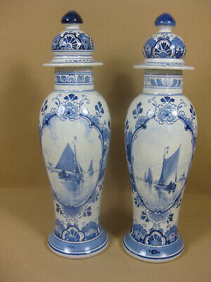 Antique Pair Delft Porceleyne Fles Vases  1903