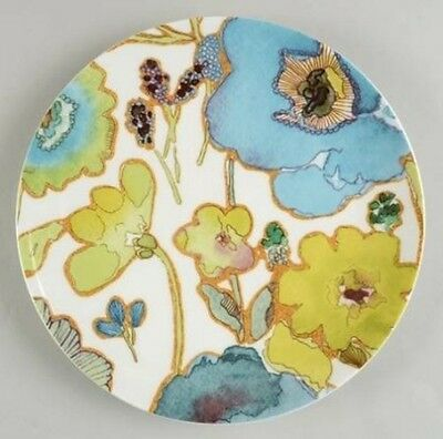 Lenox FLORAL FUSION Set of 4 Blue 9 inch Salad Luncheon Plate Green