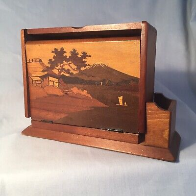 Antique Japanese Wooden Inlayed Marquetry Cigarette Box With Match Holder Vgc