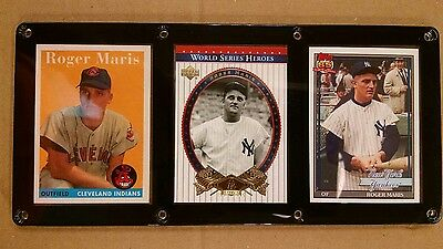 Roger Maris 3 Card Plaque Screwdown New York Yankees Cleveland Indians