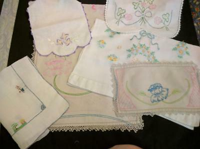CHEAP Vintage Embroidered Linen Runners Lot Tatting Crochet Some Cutters 6 Pcs.y