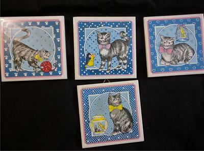 4 pcs Vintage Cat Tiles with Hangers and Rubber Feet Use as Art or Trivets CUTE!