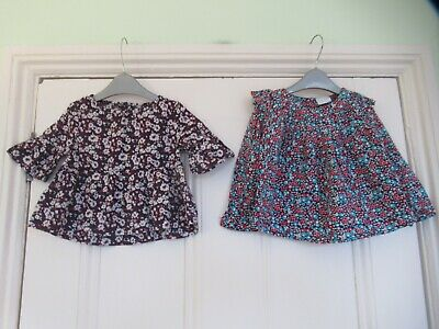 12-18m: 2 pretty floral tops/blouses: Baby Gap/Mini Club: Good condition