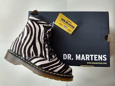 4d50a321df05 Doc Dr. Martens Zebra Pony Hair Real Fur Leather Boots Brand New Rare  Unisex 5Uk