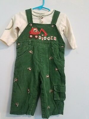 Baby Boys 12 Month Good Lad Embroidered Digger Truck 2 Piece Outfit Set! Euc!