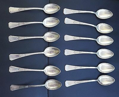ANTIQUE GERMANY SET 12 SILVER marked 800 BELMONTE SPOON ART DECO 172 gram total