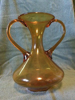 "Vintage AMBER GLASS 10"" Dual Handle CARAFE - Pitcher - FLAGON - Ewer - VASE -URN"