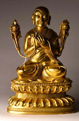 Antiker Lama Tibet/China Buddha Gilt Bronze 16 cm Gold alt antik antique B55