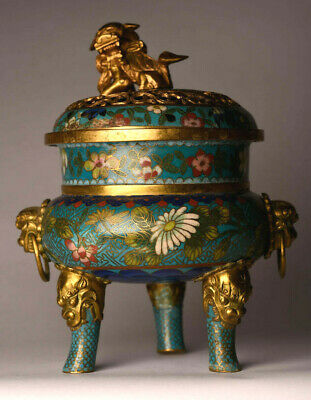 Antiker Weihrauchbrenner China 19 Jhd. Bronze Gold Cloisonne 19 cm antique  B70a