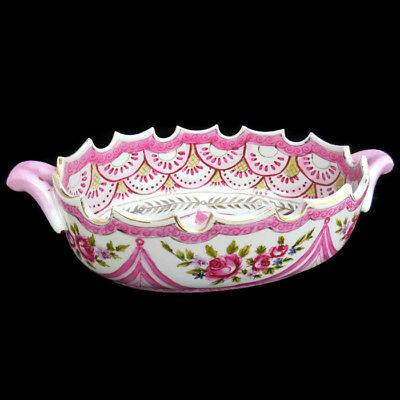 Antique? Ceramic Bowl-Centrepiece with Handles ,Scalloped Edges and Hand Painted