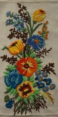 Vintage Poppy Floral Bouquet Crewel Embroidery Completed Finished
