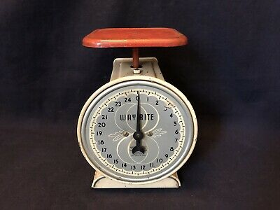 Vintage Kitchen Scale Household Scale W Brass Face Tin Body