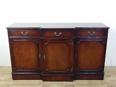 Vintage Regency break front flame mahogany sideboard buffet antique reproduction