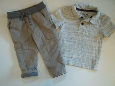 Boy Cherokee 12M Shirt Cat & Jack Lined Jogger Pants Clothes Outfit Lot 12 Month