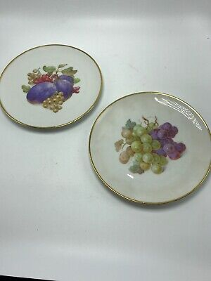 Schumann Bavaria Arzberg Dessert Plates Fruit Pattern Gold Trim Set of 2 Vintage