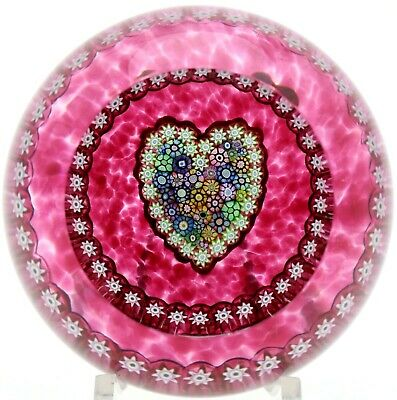 Lovely PERTHSHIRE Multicolored MILLEFIORI CANES Pink HEART Art Glass PAPERWEIGHT