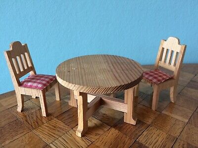 Tisch Stuhl Stühle Lundby  Puppenhaus Puppenstube 1:18 dollhouse table chair