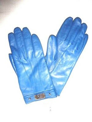 $138 COACH Women's Cashmere Lined Leather size 8 blue w/ buckle gloves 82815 new