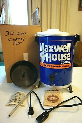 Vintage Maxwell House 30 Cup Coffee Pot Maker Percolator West Bend PROMO ITEM