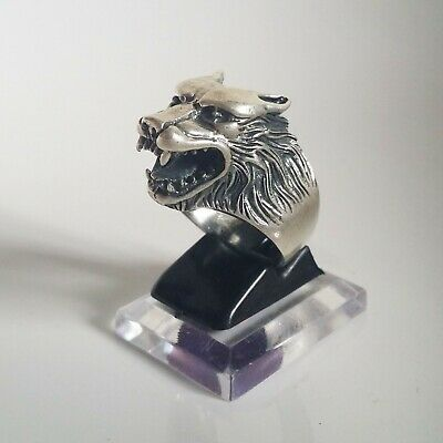 Wolf Head Ring Solid Sterling Silver 925 Size 11.0 US