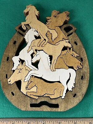 Beautiful Hand Made Scroll Saw Wooden Horseshoe Horse Puzzle 3D Wood