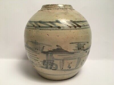 Vintage Antique Chinese Ginger Jar Stoneware Painted Blue And White