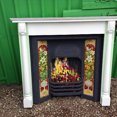 Antique Tiled Fireplace With Painted Hardwood Surround