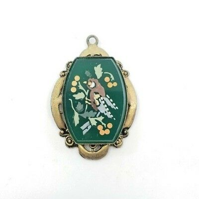 Antique Victorian Etched Glass Painted Bird Pendant Necklace Special! Gorgeous!