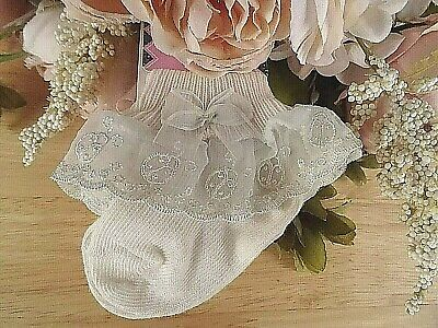 Baby Girl Cream Ladybird Lace Frilly Christening Occasion Party Socks 0-3-6-12m
