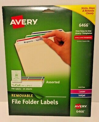 AVERY REMOVABLE INKJET/LASER ID Labels, 1 x 2-5/8, White, 750/Pack