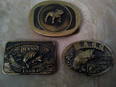 Lot of 3 KEITH SMYKAL CO MACK TRUCK DOG USA/ BASS 1988 SOLID BRASS BELT BUCKLE