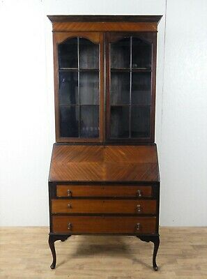 Antique mahogany bureau bookcase with glazed cabinet and pull down writing desk