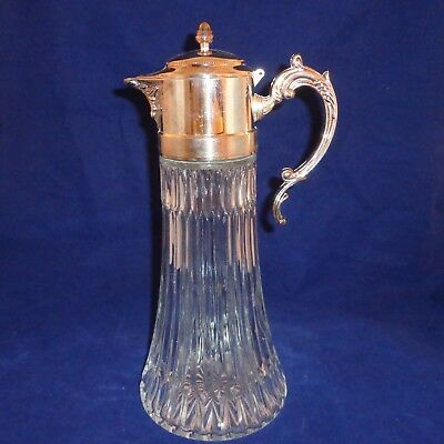 Vintage Cut Glass & Silverplate Carafe by E.B. Rogers Silver Co. Made in Italy