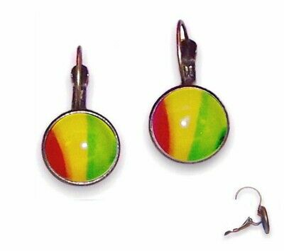 14mm Earrings Lever Backs - Antique Brass Setting & Red Yellow & Green - Glass