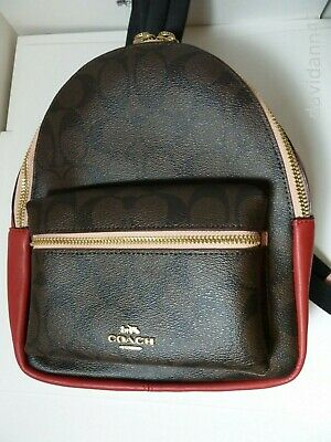 5c649a342c7324 NWT Coach F68094 Colorblock Mini Charlie Backpack Signature -Brown/Pink/Red