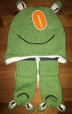 NEW Kids Bluezoo Hat And Gloves Frog Mittens Green Age 1-2 12-24 Months
