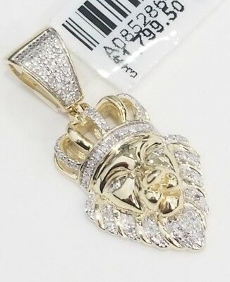 38d16f834d5 Real 10K Yellow Gold Natural Diamond Lion Face King Crown Jungle Charm  Pendant