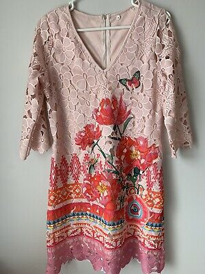 Unbranded Floral Lace Overlay Sheath 3/4 Sleeve Zipper Dress Pink Coral Size M